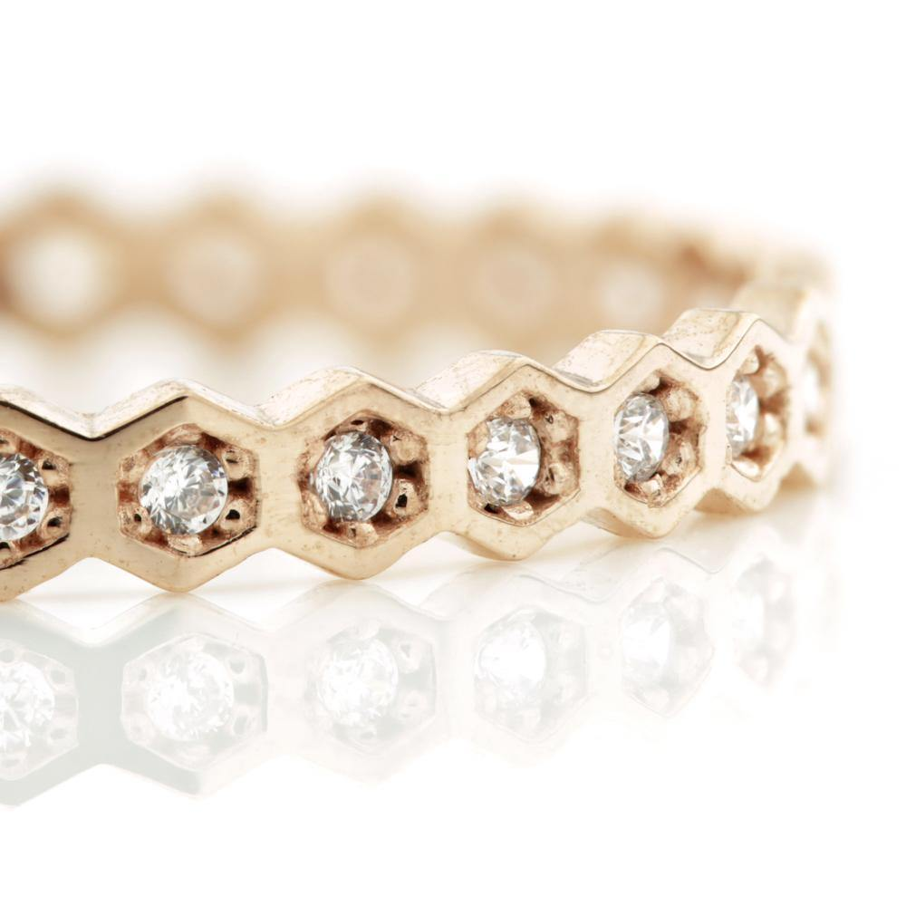 Rose Gold Crystal Hexagon Band