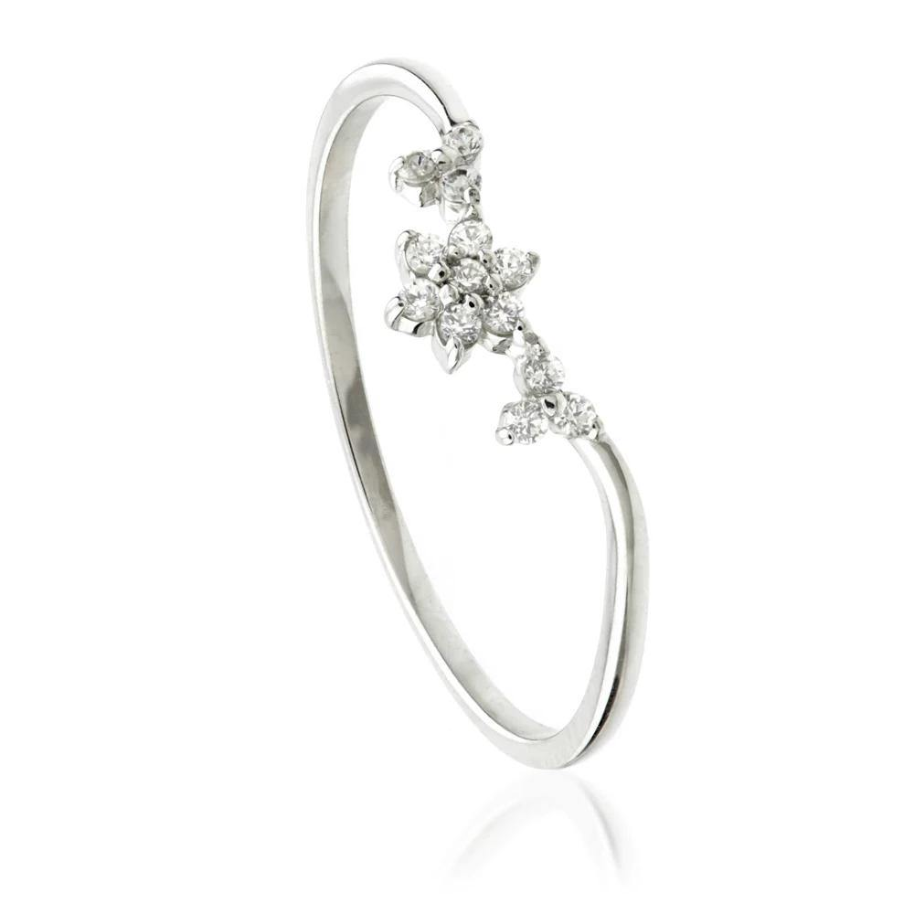 9ct White Gold Crystal Flower Chevron Stacking Ring