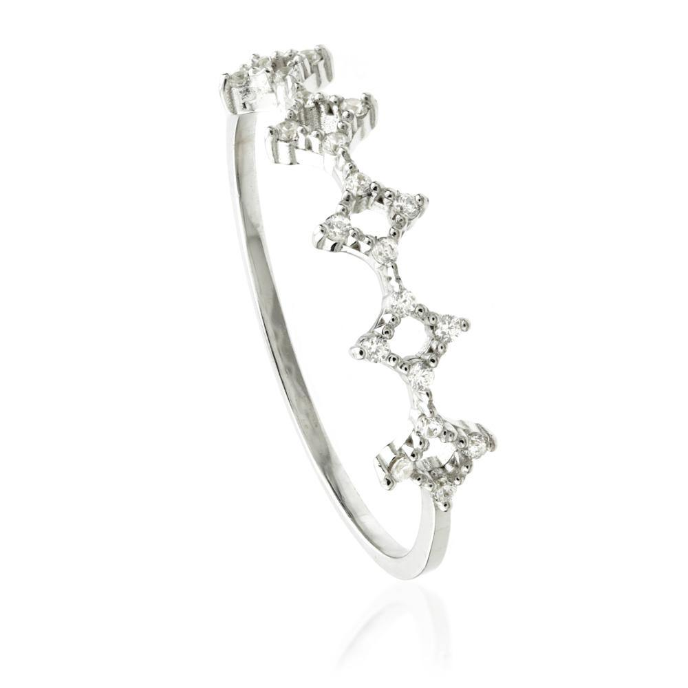 9ct White Gold Open Crystal Stacking Ring