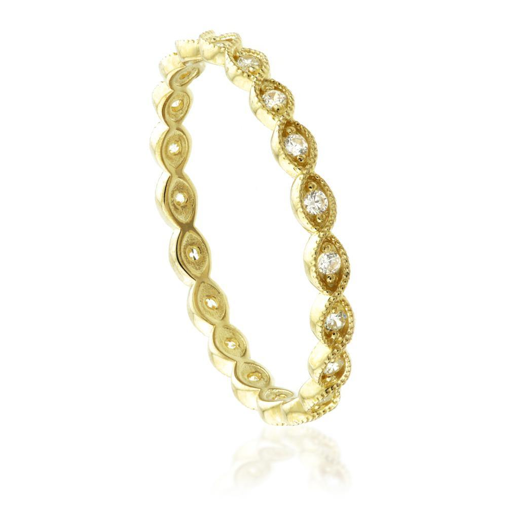 9ct Gold Crystal Twist Stacking Ring