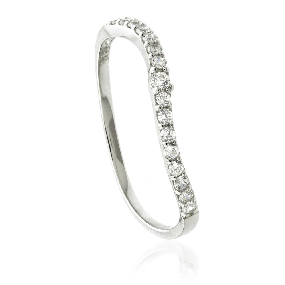 9ct White Gold Crystal Curved Stacking Ring