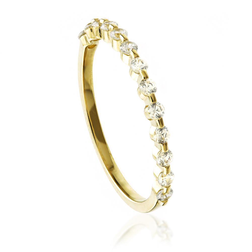 9ct Gold Simple Crystal Stacking Ring