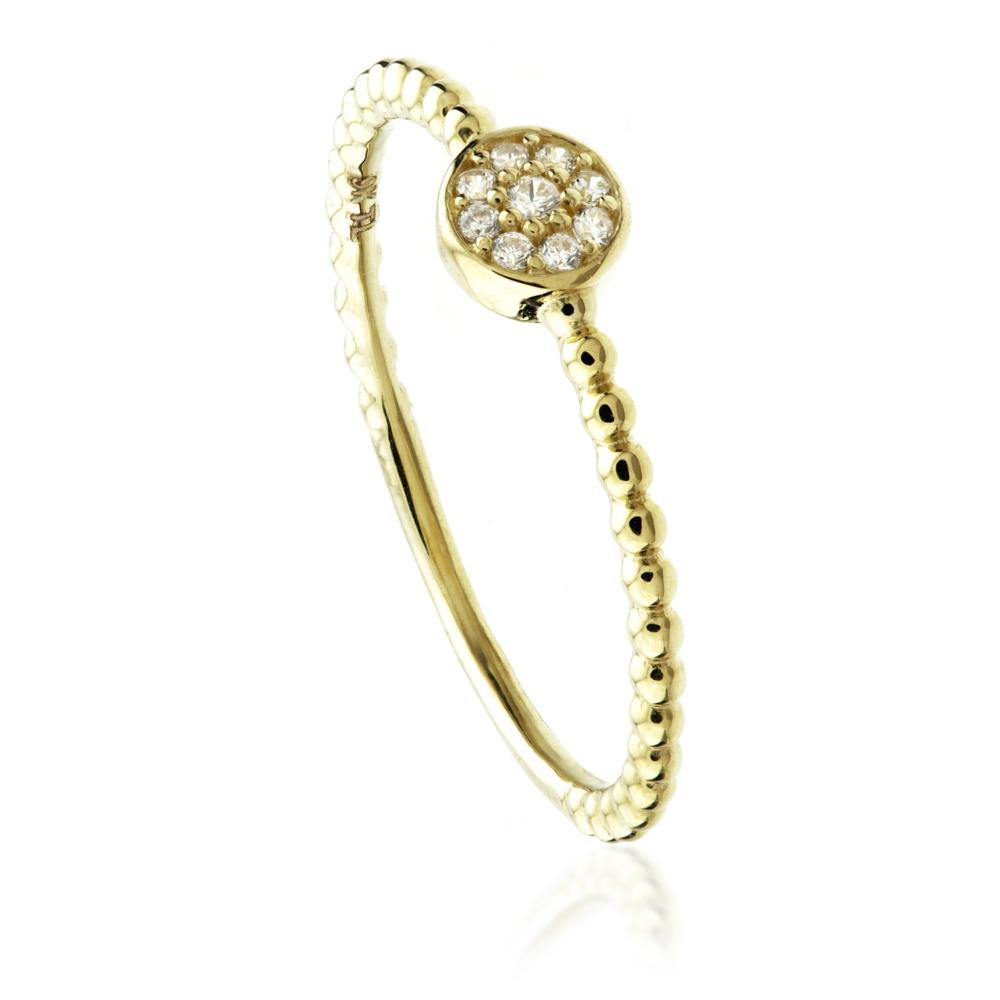 9ct Gold Round Pave Crystal Stacking Ring