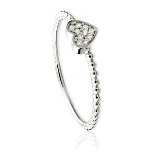 9ct White Gold Pave Crystal Heart Ring