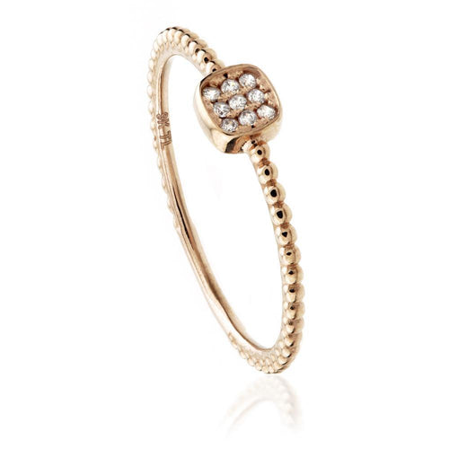 9ct Rose Gold Pave Square Crystal Stacking Ring