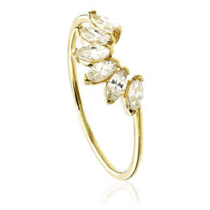 9ct Gold Curve Gem Stacking Ring