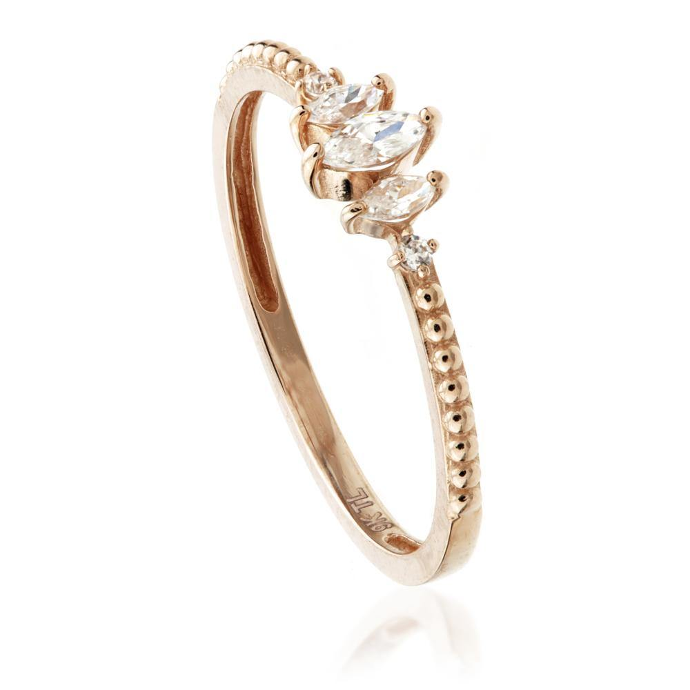 9ct Rose Gold Marquise Gem Stacking Ring