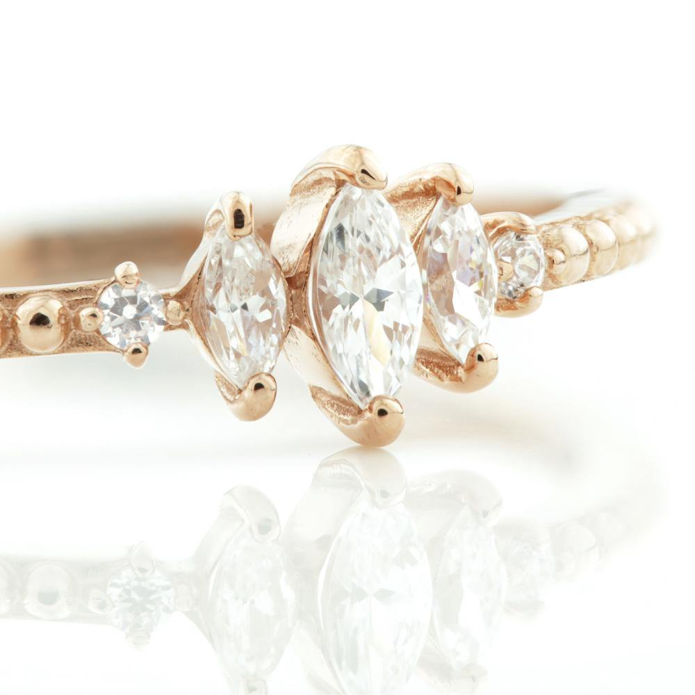 3x Marquise CZ Gems & 2x Round CZ Crystals on 9ct Rose Gold
