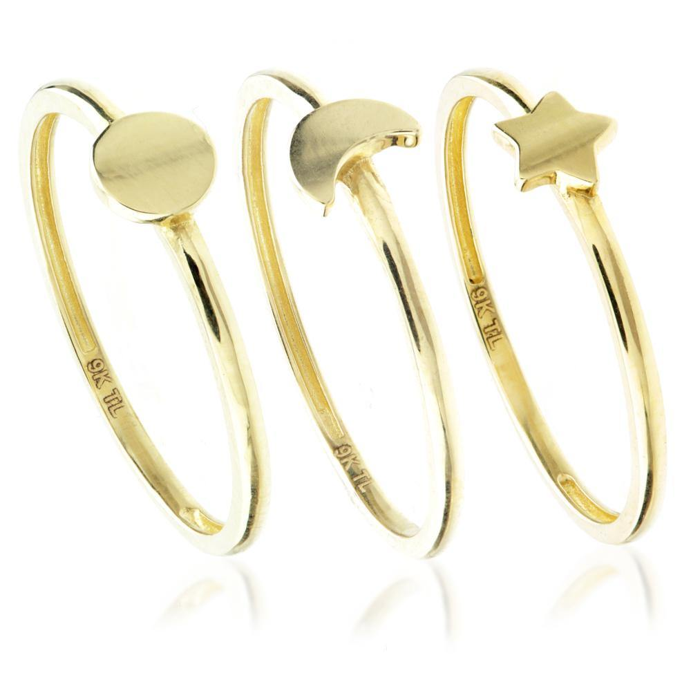 9ct Gold Multi Shape Triple Stacking Ring Set