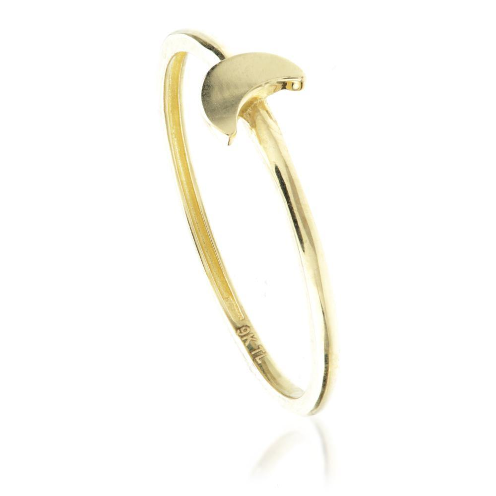 9ct Gold Stacking Ring with Moon