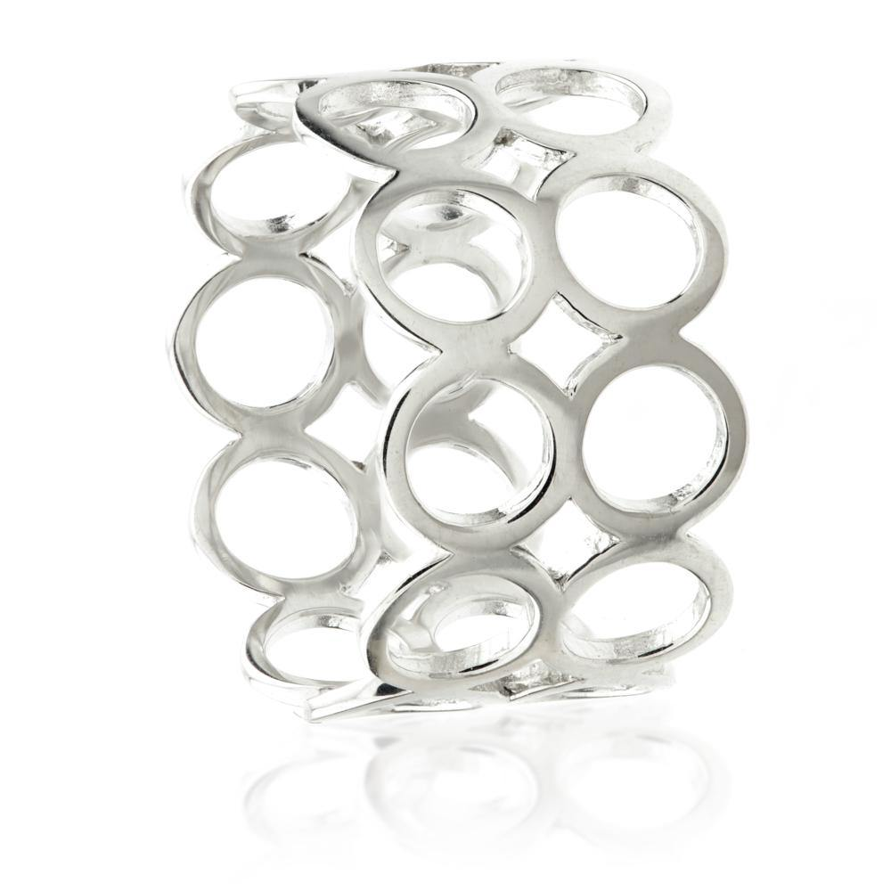 9ct White Gold Open Circle Band Statement Ring