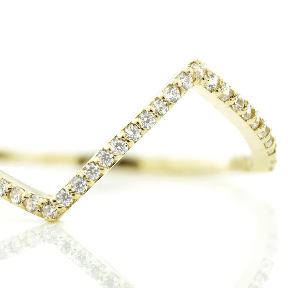 9ct Gold Crystal Chevron Stacking Ring
