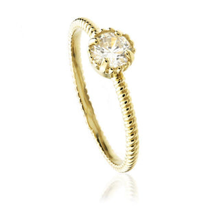 9ct Gold Round Crystal Solitaire Ring