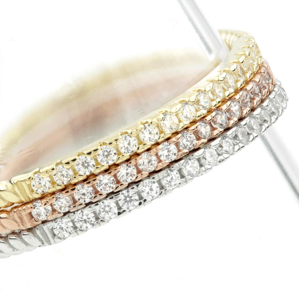 15 Tiny CZ Crystals on Each Ring
