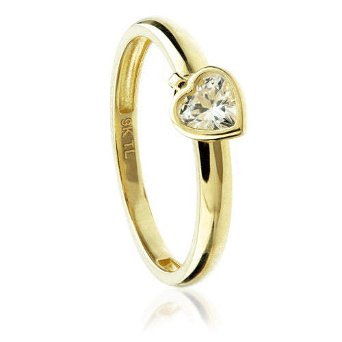 9ct Gold Crystal Heart Charm Ring