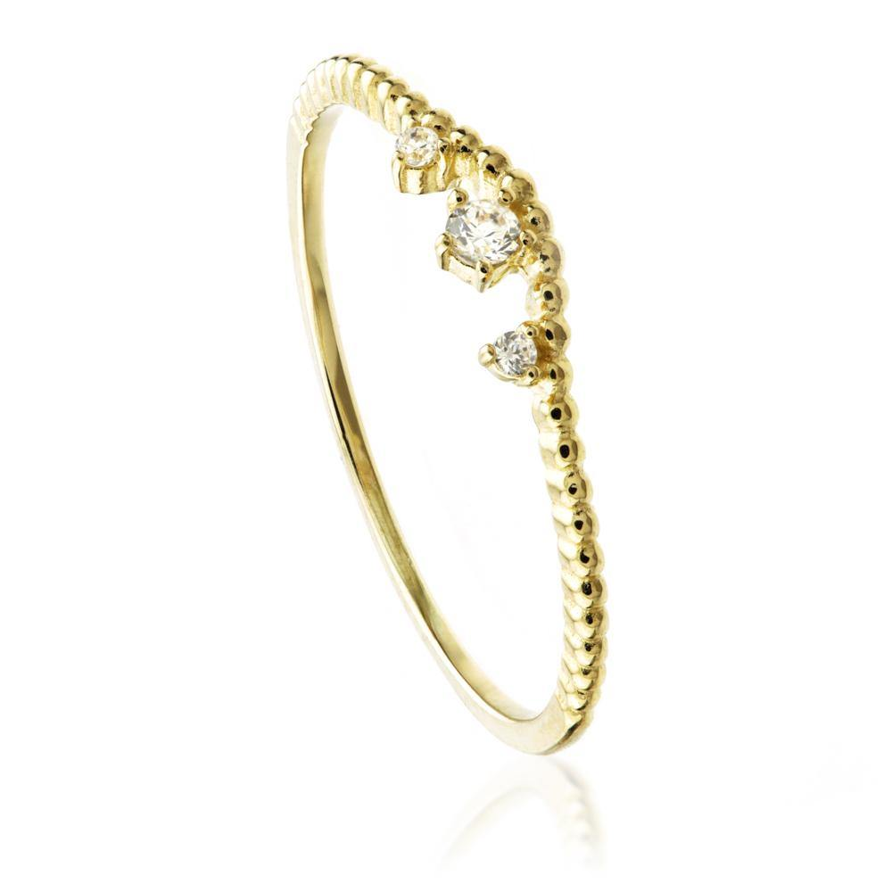 9ct Gold Curved Stacking Ring with Crystals