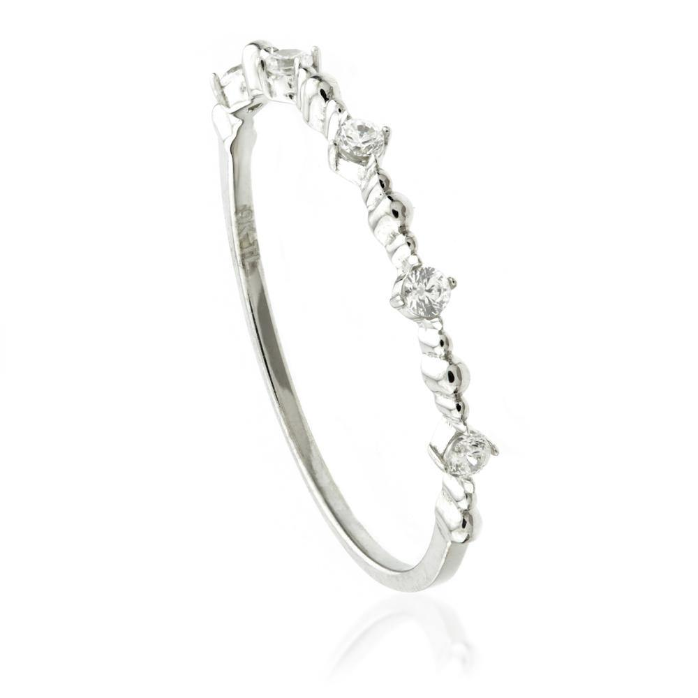 9ct White Gold Crystal Stacking Ring