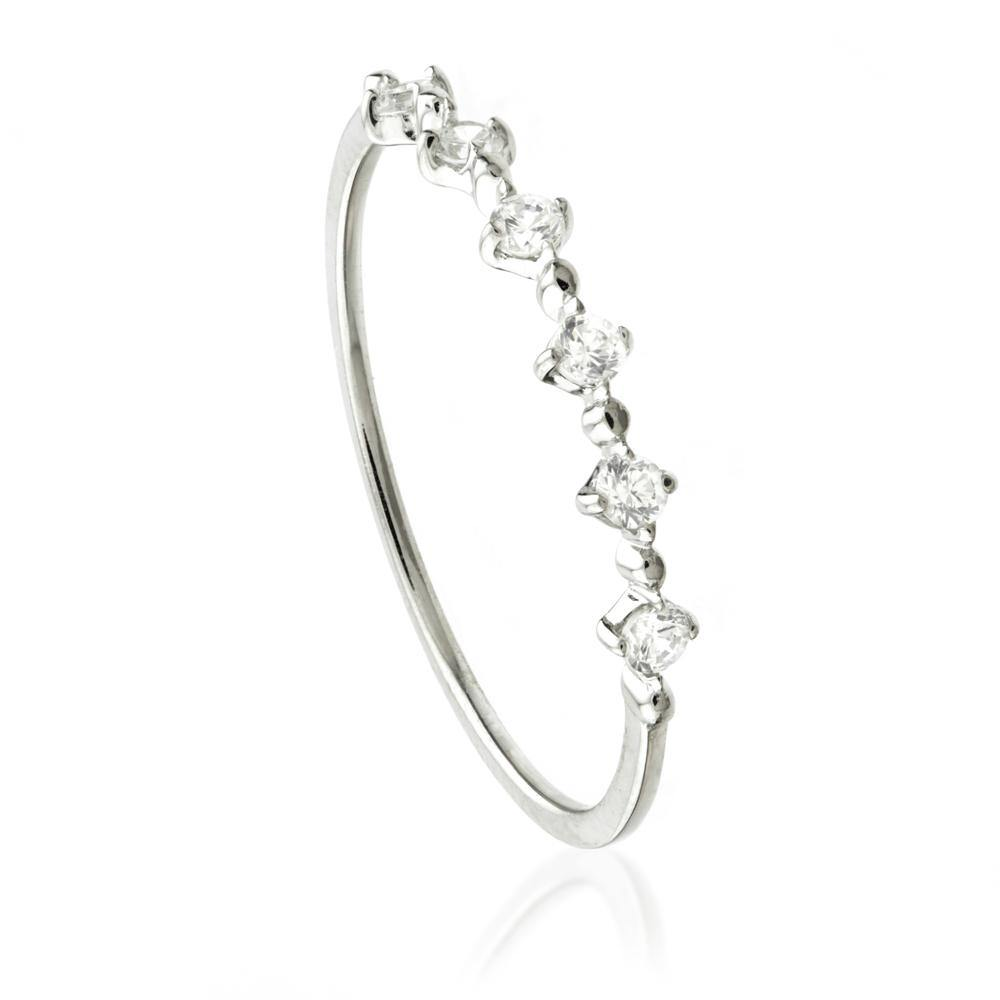 9ct White Gold Small Crystal Stacking Ring