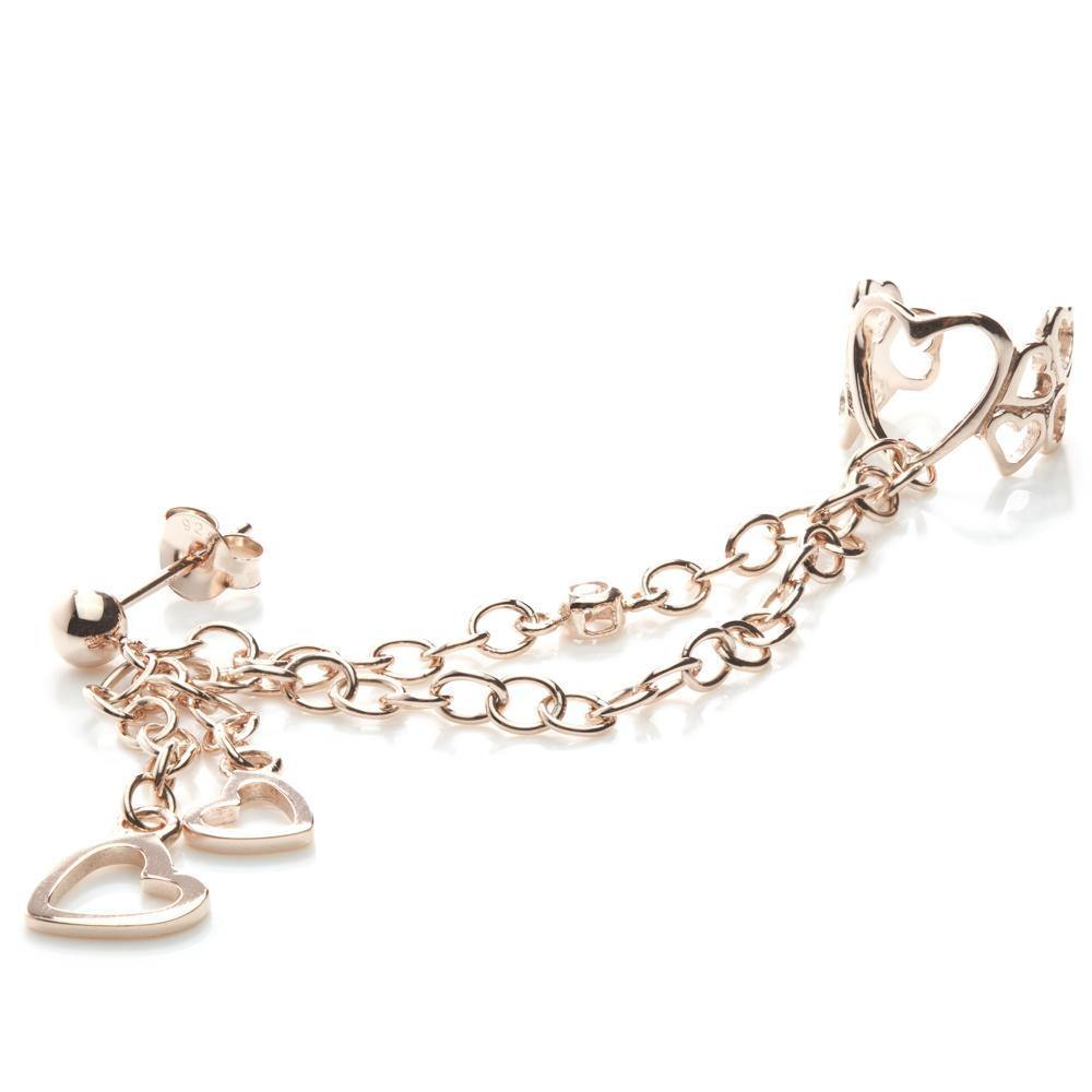 Rose Gold Vermeil Ball Stud Hanging Hearts Chain Ear Cuff