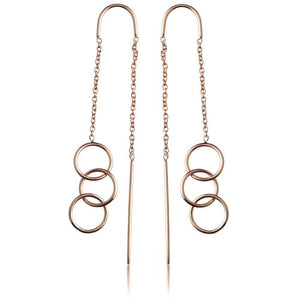 Rose Gold Vermeil Triple Linked Circles Threader Earrings