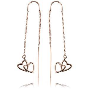 Rose Gold Vermeil Linked Hearts Threader Earrings