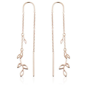 Rose Gold Vermeil Small Leaf Threader Earrings