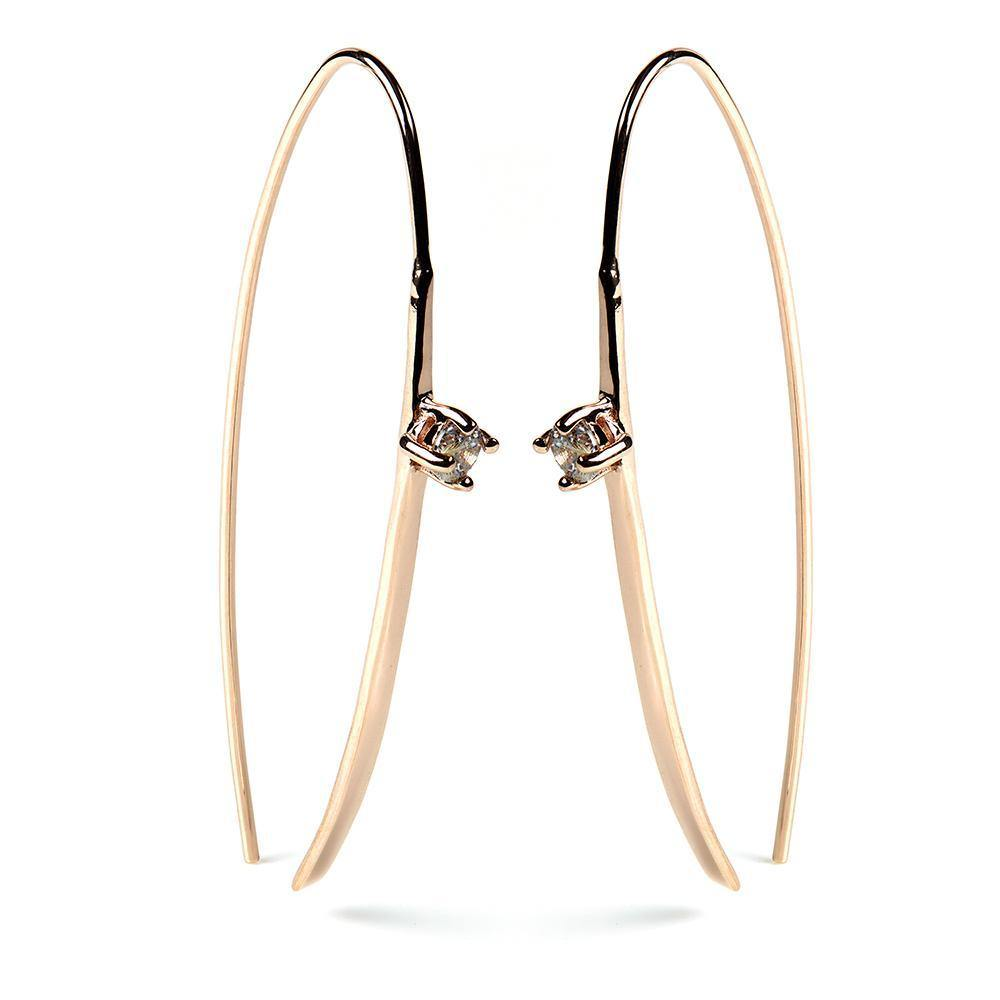 Rose Gold Vermeil Crystal Pull Through Earrings - Pair