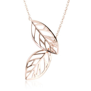Rose Gold Steel Thread Through Leaf Lariat Necklace