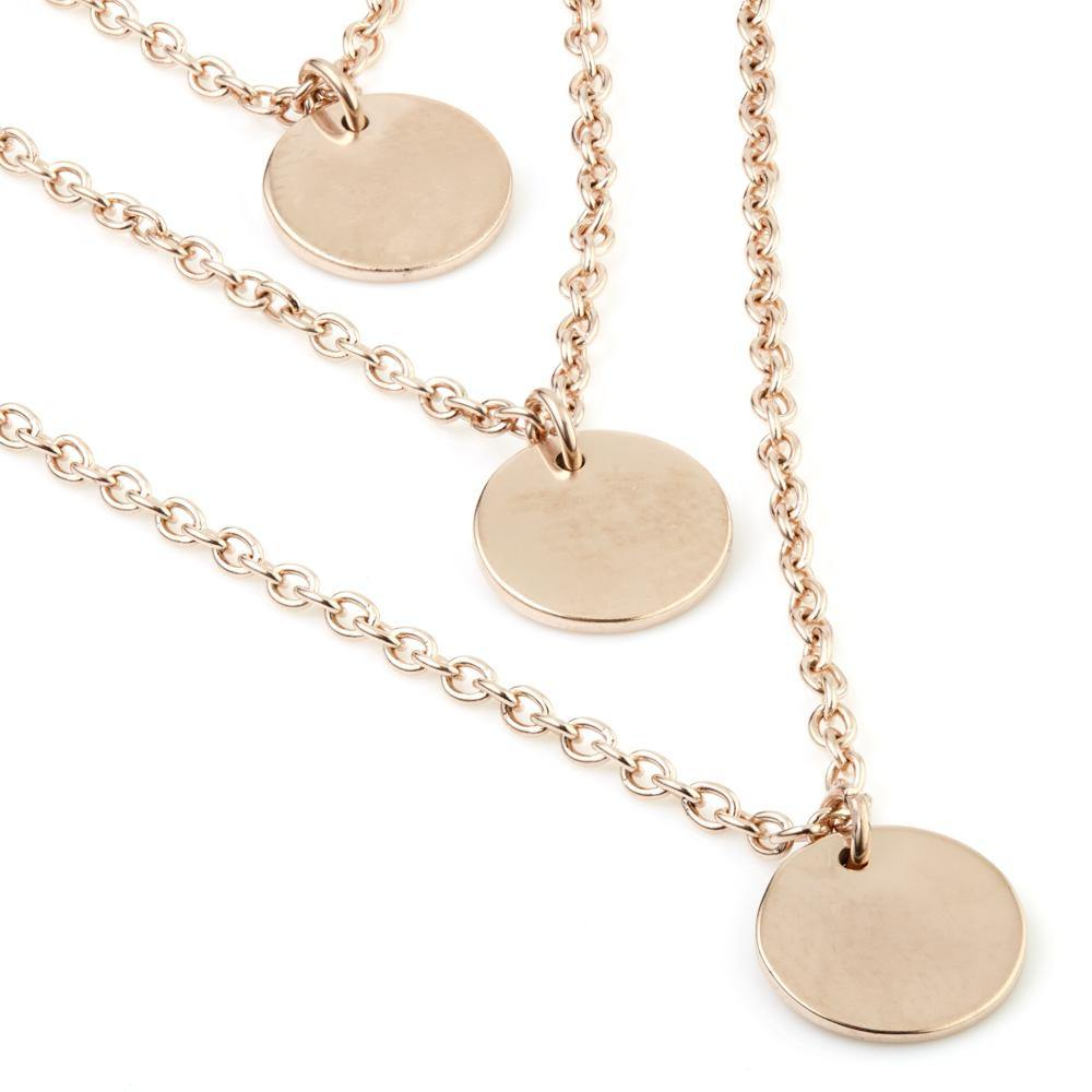 Rose Gold Triple Coin Layered Necklace