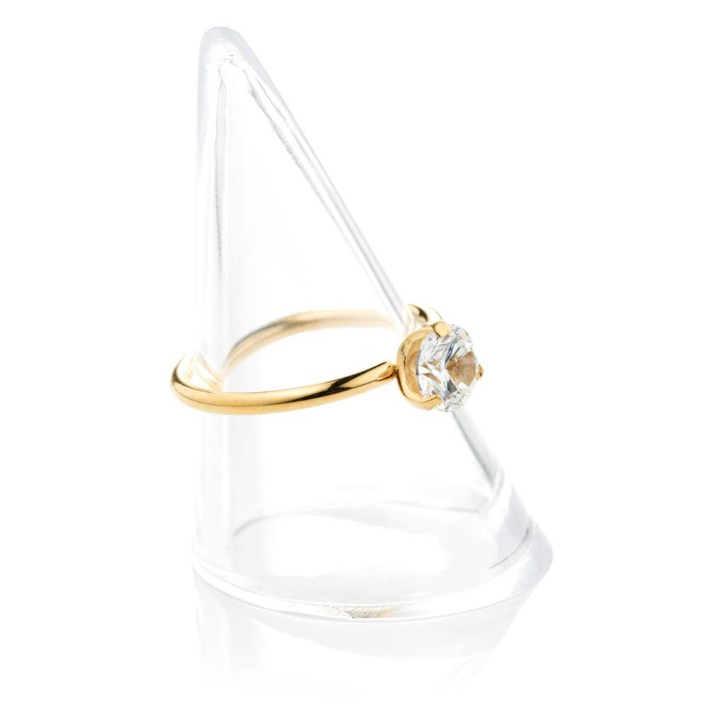 Gold Steel Crystal Solitaire Ring