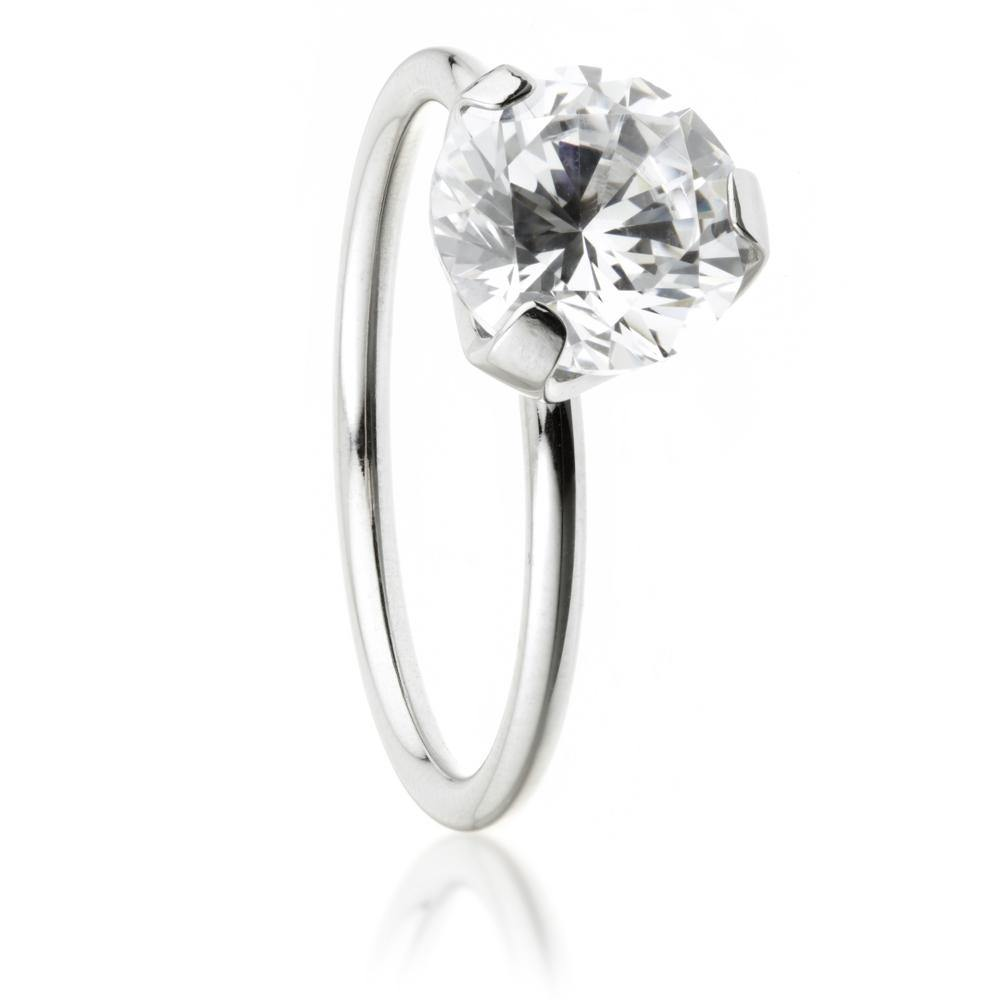 Steel Crystal Solitaire Ring
