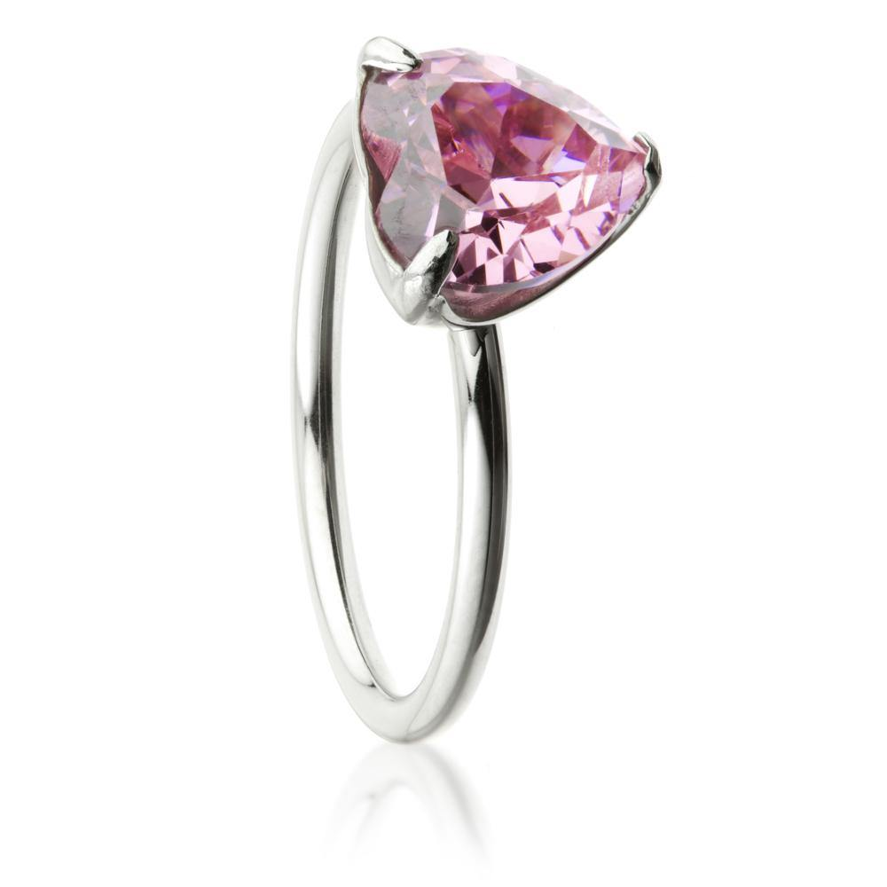 Steel Crystal Pink Heart Solitaire Ring