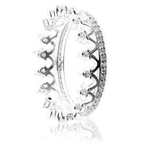 Silver Jewelled Princess Crown Ring