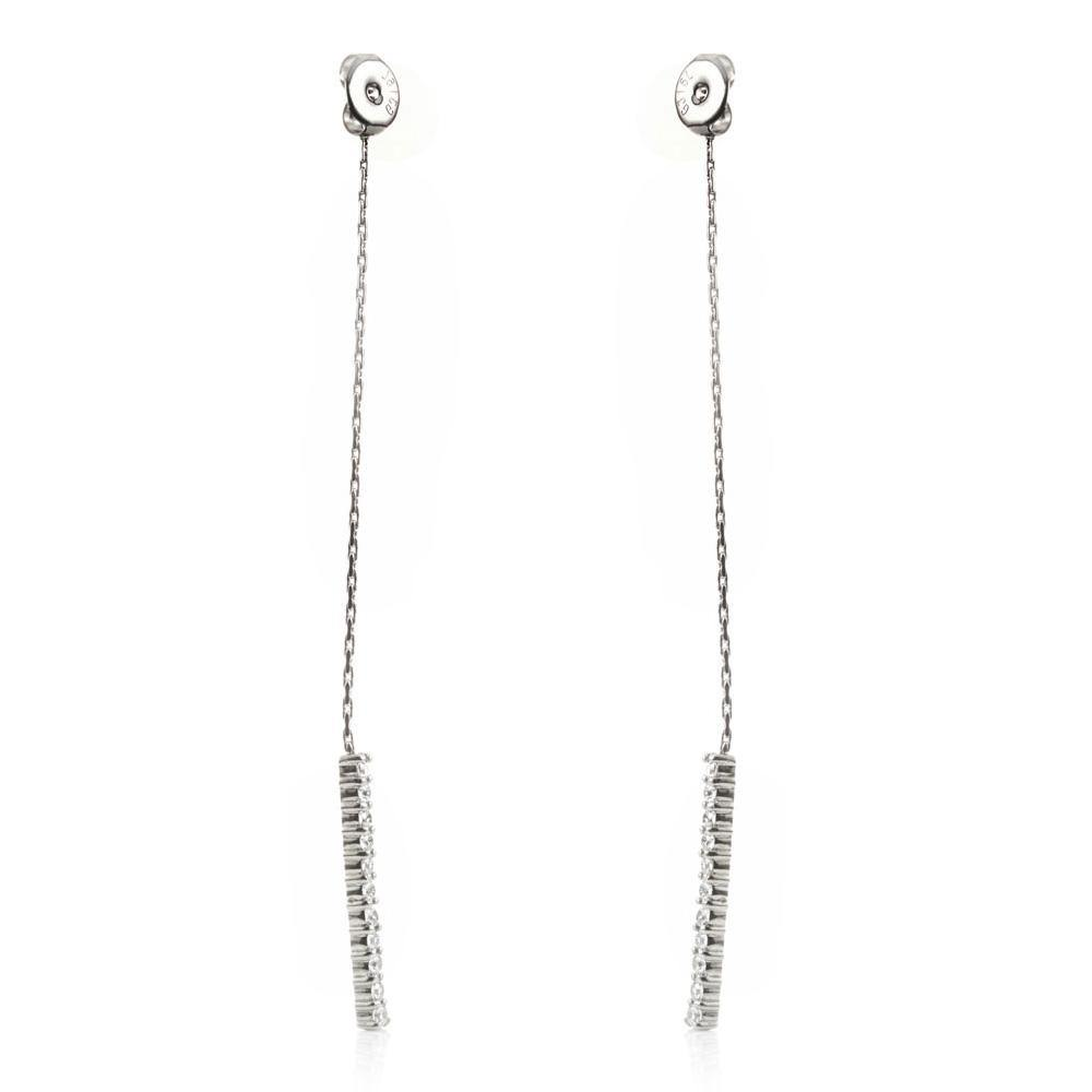 Crystal Pave Bar Long Earring Back