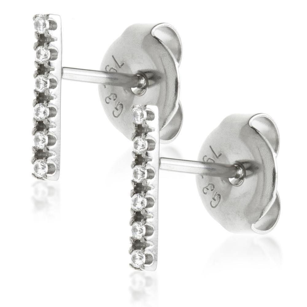 Swarovski 6 Crystal Bar Stud Earrings