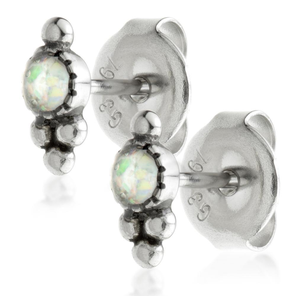 White Synthetic Round Opal Stud Earrings