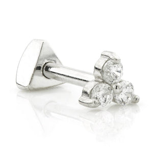 Silver Triple Gem Cartilage Bar