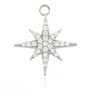 Silver CZ North Star Charm for Plain Clicker Hoop - ZuZu Jewellery