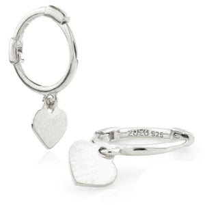 Silver Heart Charm Cartilage Hoop Earrings