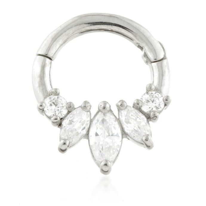 Silver Front Facing Marquise Daith Ring