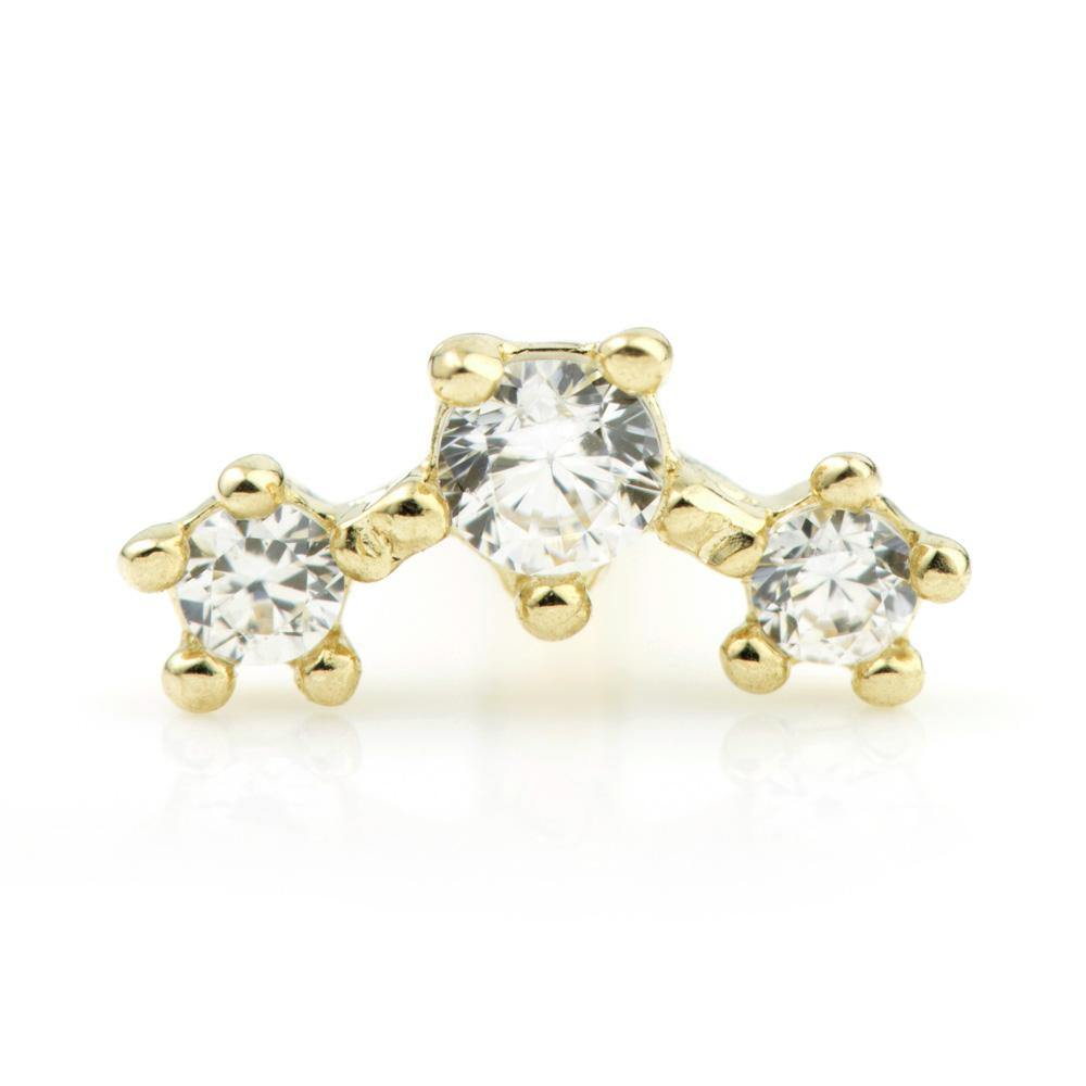 3 Gem Cartilage Stud in 9ct Gold