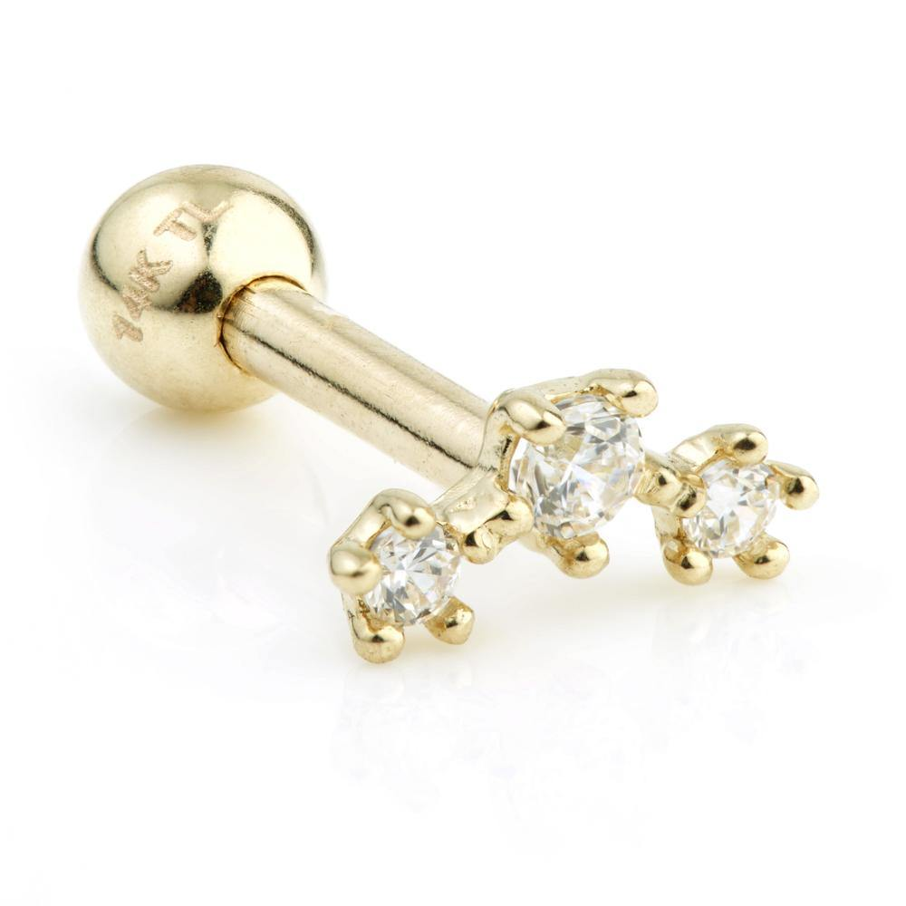9ct Gold Three Gem Cartilage Stud