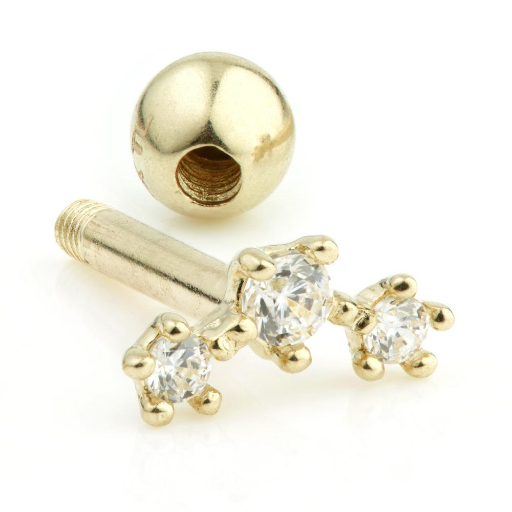 Gold 3 Gem Cartilage Bar with Ball