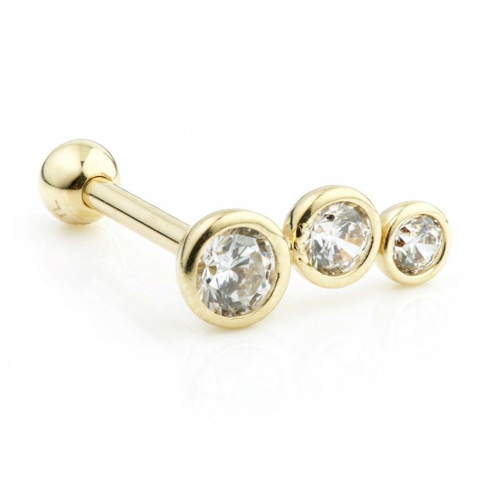 9ct Gold Triple Gem Cartilage Stud