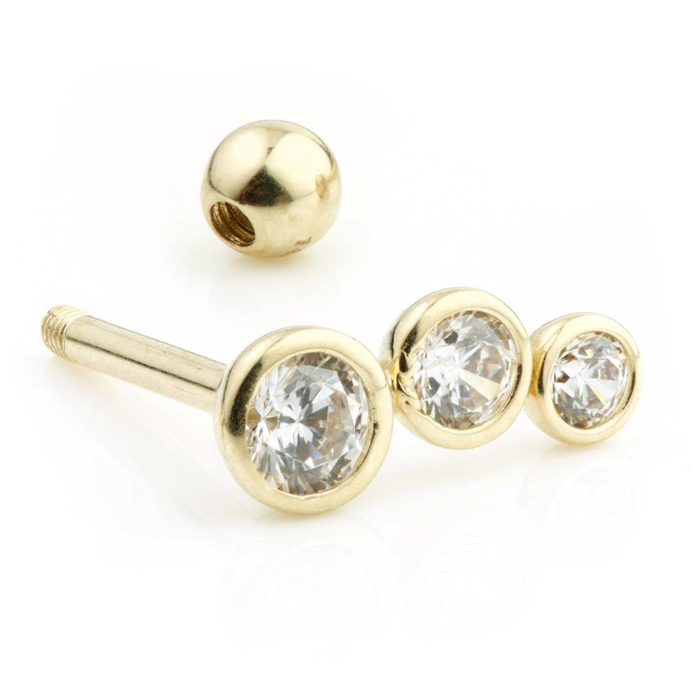 Triple Gem Cartilage Stud with ball
