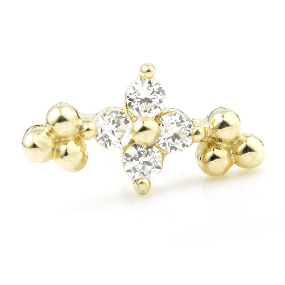 Crystal Flower & Tri-Ball on 9ct Gold