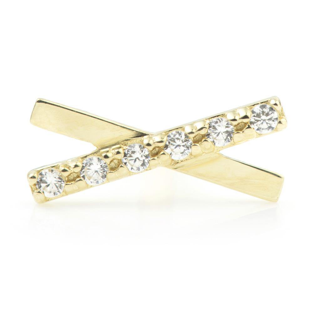 Crystal bar cross on 9ct Gold