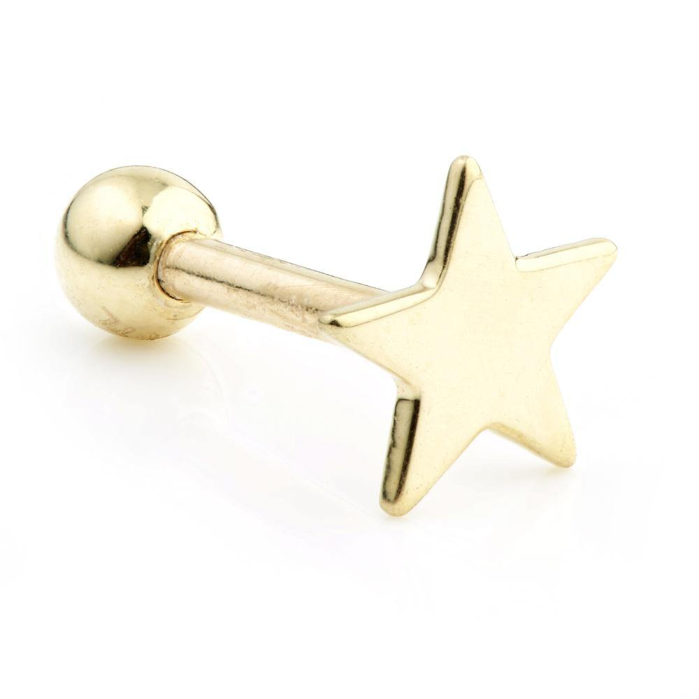 9ct Gold Single Star Cartilage Stud