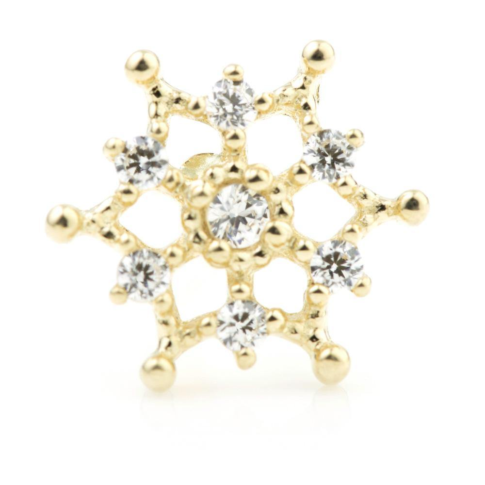 9mm Snowflake Cartilage Stud in 9ct Gold