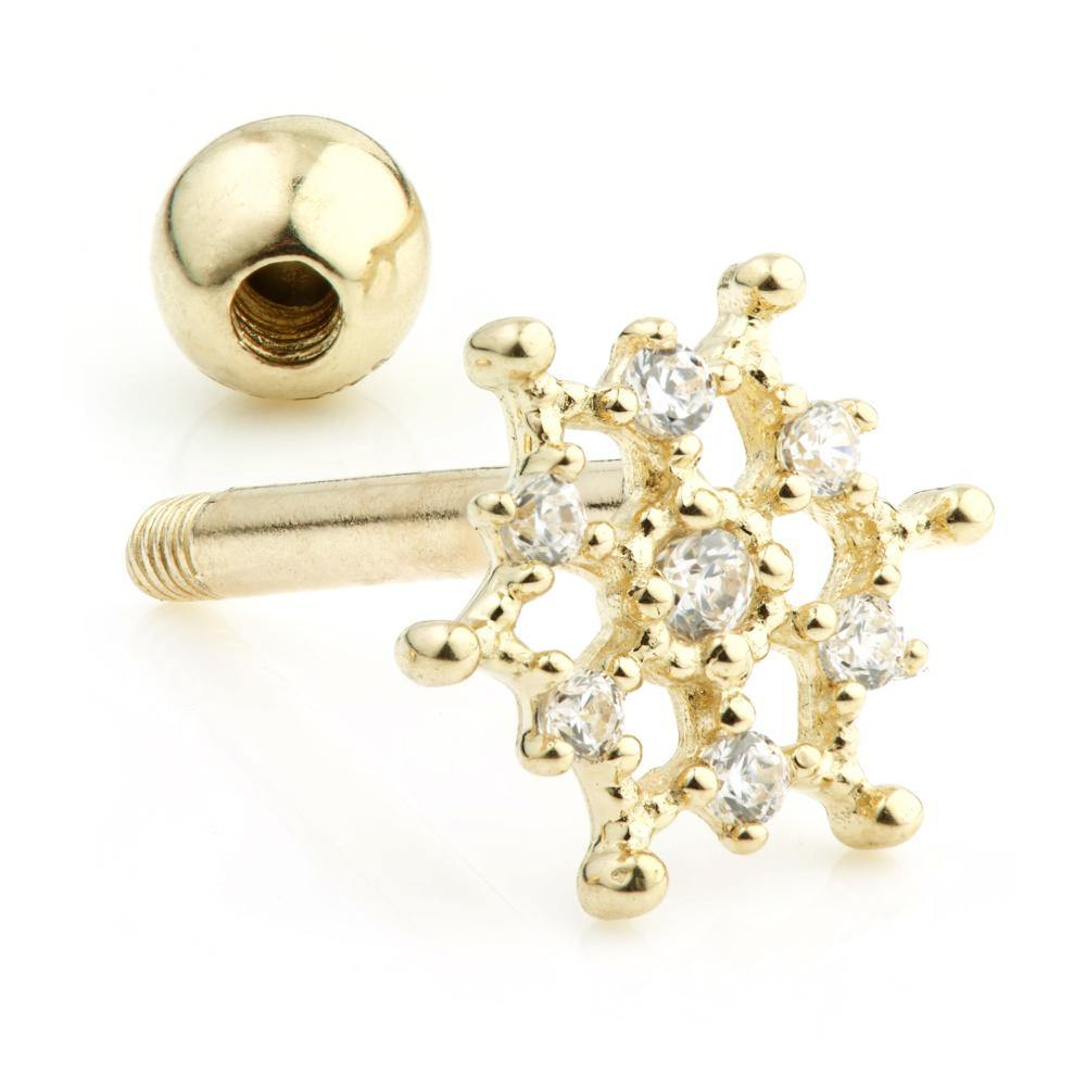 9ct Gold Crystal Snowflake Stud with ball